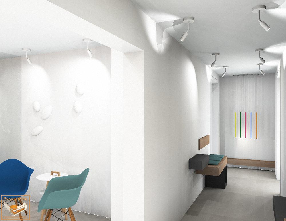 Flurzone   Der Flur ist mehr als nur ein Verbindungsraum. Die funktionale Nutzung und konzeptionelle Gestaltung schafft fließende Übergänge zwischen den Praxisräumen.  Aufmerksamkeit – Raumgestaltung