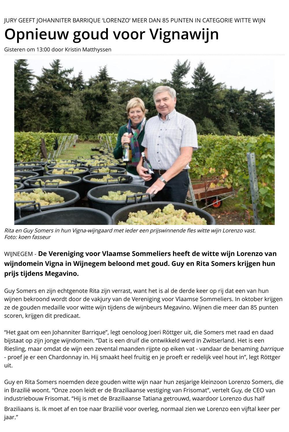 Artikel Gazet van Antwerpen, 24 september 2016