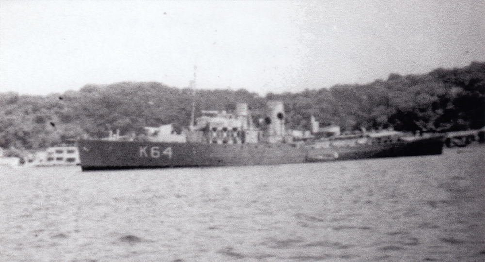 HMS Hollyhock at Trincomalee in March 1942. Photograph by kind permission of Mr Tommy Thompson