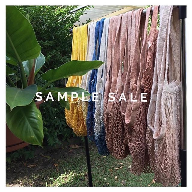 It's back! String bags at wholesale prices. Our annual sample sale is on until the limited numbers run out . Samples in long or short handle, dip dyed or solid colour - they're not perfect & may have slight colour inconsistencies as a result of the fluctuations of natural, plant dyes. They are perfectly suited to haul your groceries, plastic-free or as a sand-free beach bag . . #subtropicthelabel #samples #cotton #stringbags #nettedbag #plantdyed