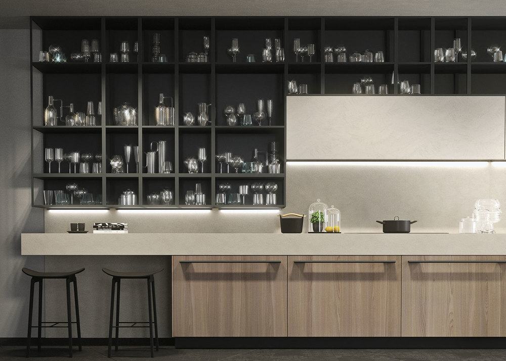 Front view of the compositions that valorizes the architecture of open elements of Platino gray lacquered aluminum and the 17 cm Cenere melamine faced laminate kitchen unit.