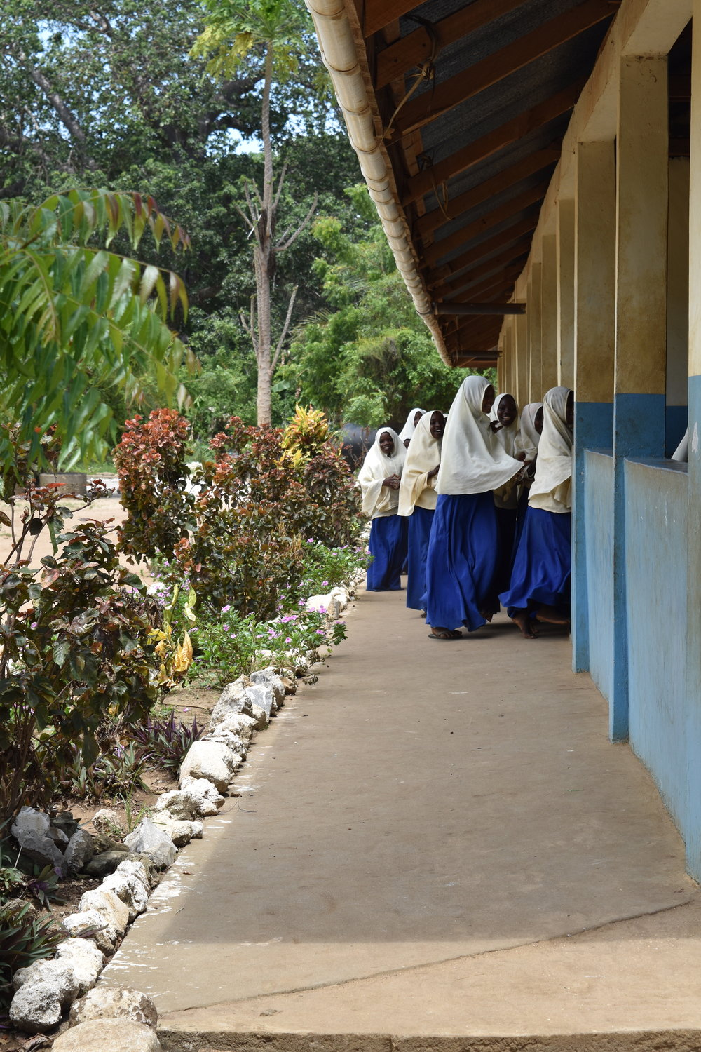Village girls attending the local school