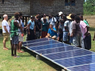 Demonstrating the installation of solar power.