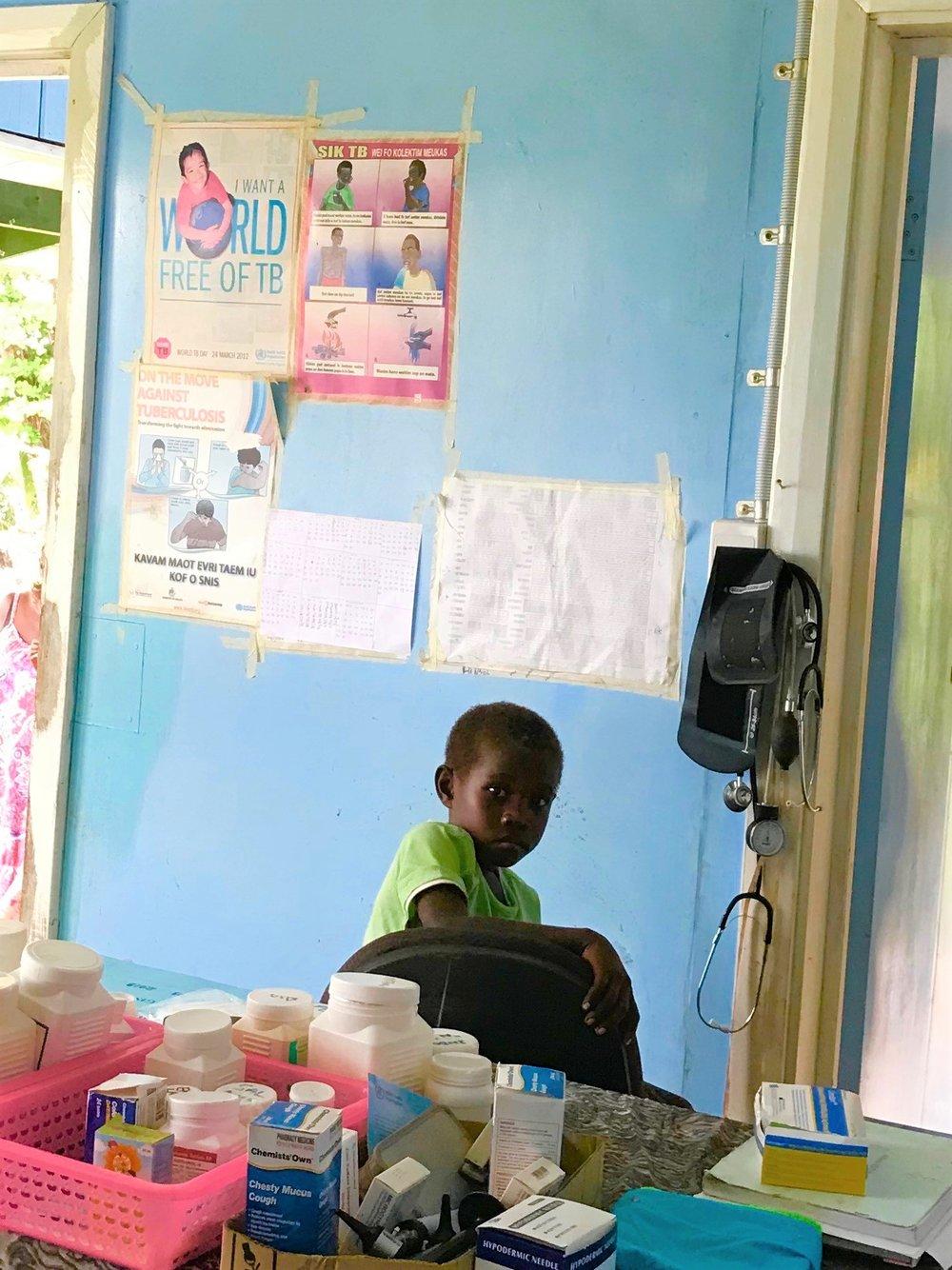 A local child at the Samarae Clinic.