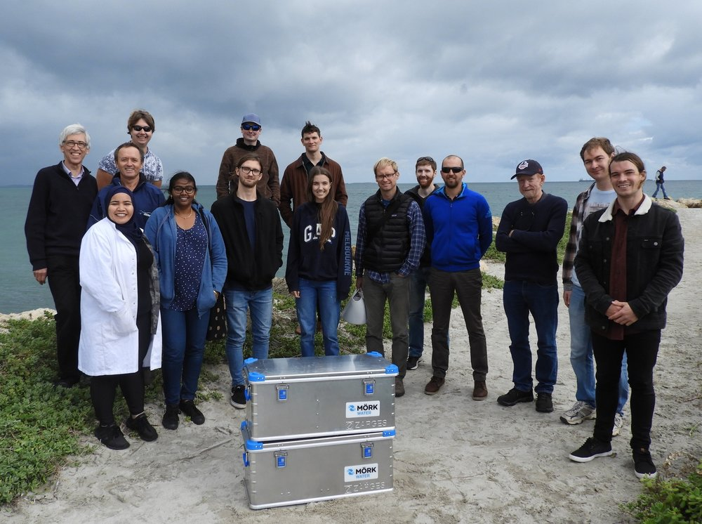 Martin Brezger with the Murdoch students and the portable desalination plant they will take to Indonesia.