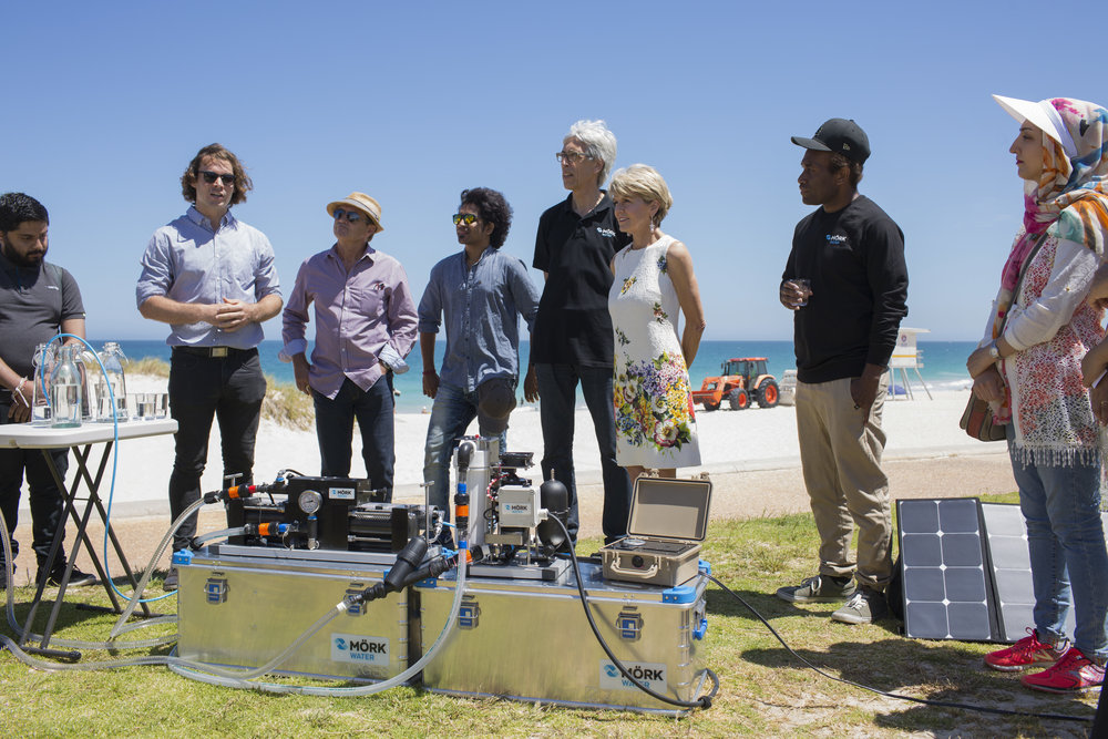 The Hon Julie Bishop MP and the Moerk Water team with their desalination plant