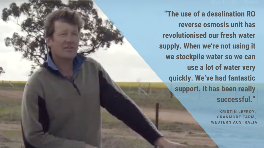 """The use of a desalination RO reverse osmosis unit has revolutionised our fresh water supply. When we're not using it we stockpile water so we can use a lot of water very quickly. We've had fantastic support. It has .png"