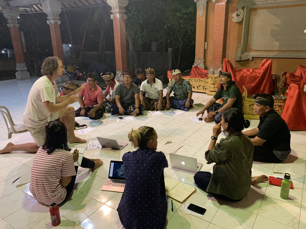 Surfrider Foundation and Bottle for Bottle conducting a community consultation with the Village Leaders of Nusa Lembongan in Indonesia
