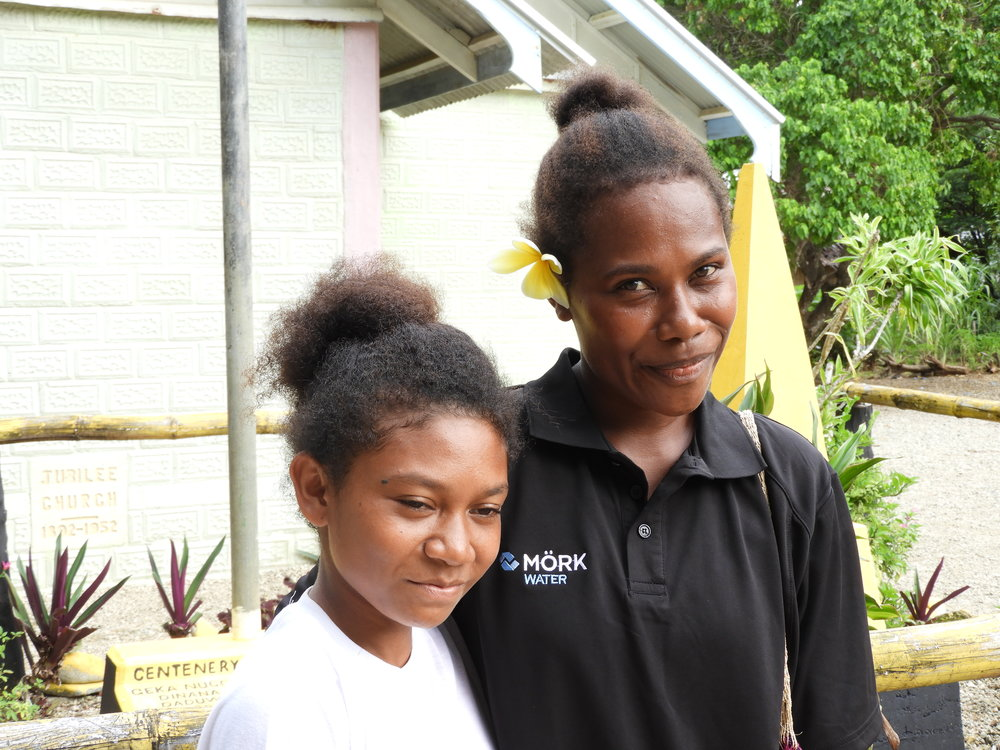 Karen August, teacher of East Cape Village Primary School and her student