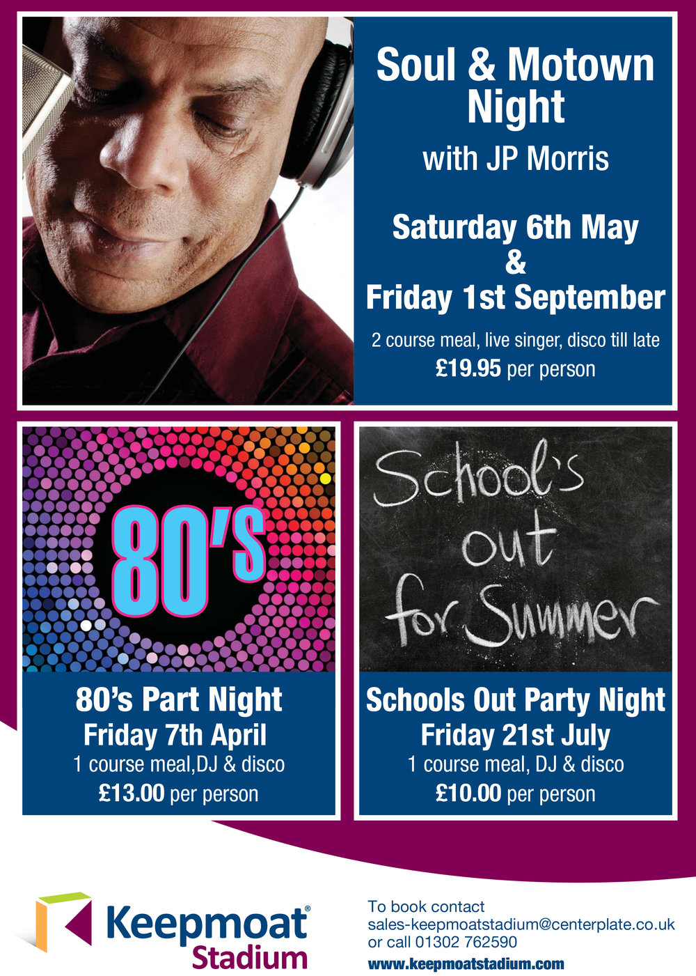 Party on at Keepmoat Stadium - Throughout the summer we are hosting some amazing party nights, inclusive of delicious food and great entertainment. Call us on 01302 762590 to book your place!