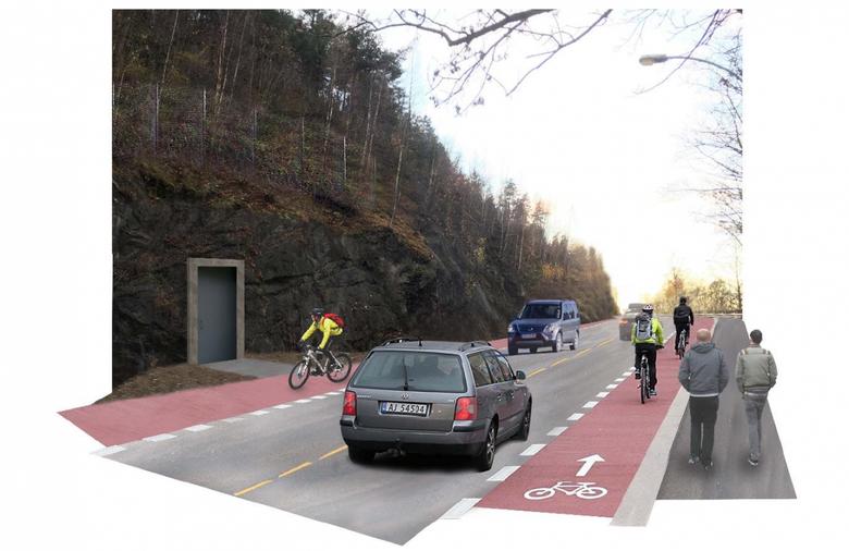 Slik blir den nye Kongsveien opp mot Ekeberg.