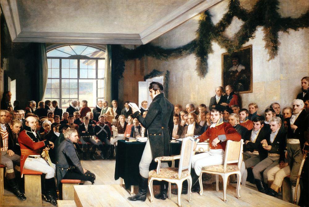 «Eidsvold 1814», Oscar Arnold Wergelands maleri som ble utført i 1882–1885. Maleriet henger i Stortingssalen.