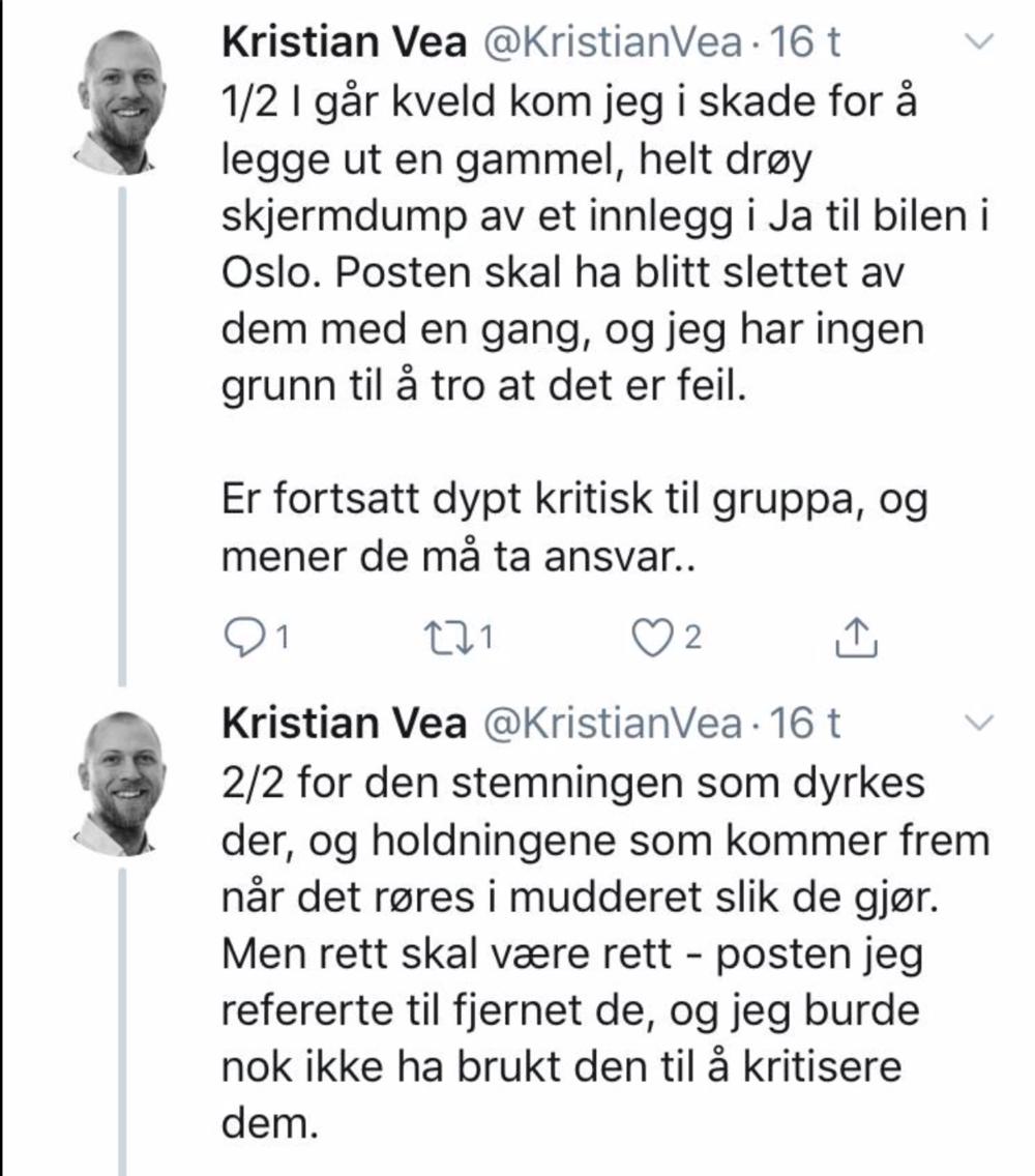 """Kristian Vea er arkitekt og er sterkt involvert i Aå-byrådet prosjekt """"Bilfritt byliv"""" som fast ansatt i Oslo kommune. Vi anbefaler Vea å gjøre et skarpt skille mellom hovedinnlegg og kommentarfelt når han vurderer en FB-aktør."""