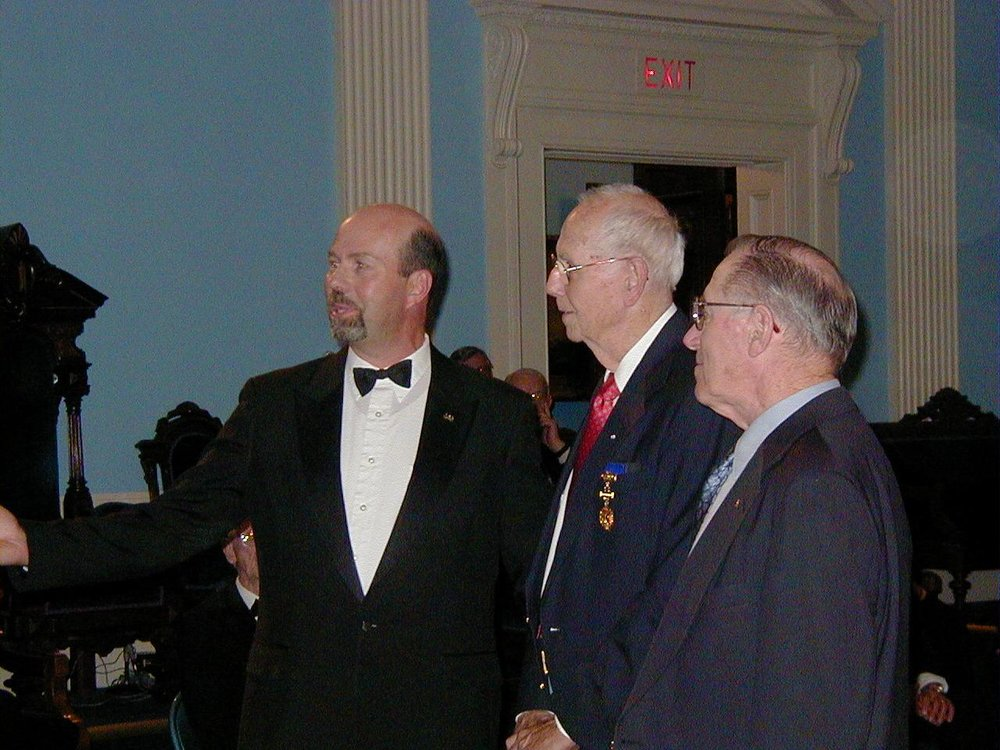 John A. Torrisi, 32° (left) was installed as the first Thrice Potent Master of Merrimack Valley Lodge of Perfection under the Valley of the Merrimack. Oct. 9, 2003. At right is John's father-in-law, Brother James E. Bradley, 32°