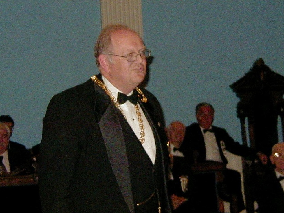 On October 9, 2003 Illustrious Walter Webber, 33°, Sovereign Grand Commander, presides over the Inauguration of the Valley of The Merrimack  at Freemasons Hall, Haverhill, Massachusetts. The new Valley was the product of a merger of the Valleys of Lawrence and Haverhill
