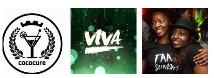 Left to right: Cococure, Viva Nights, Faaji Sundays