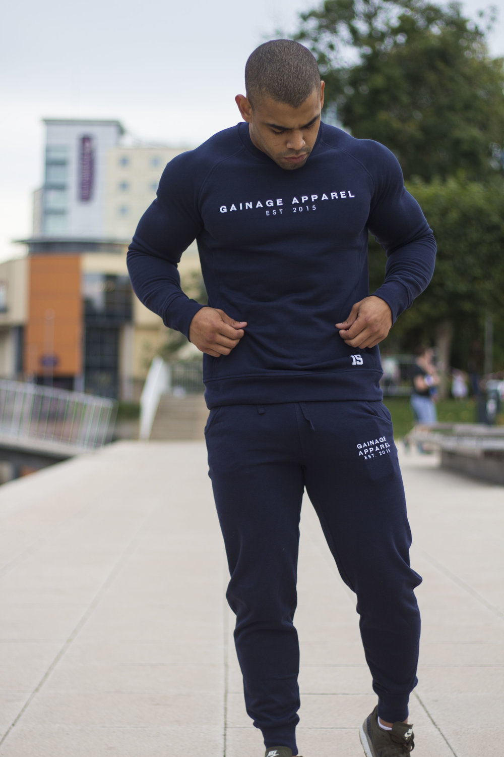 Fitness Enthusiast,  Daniel Gomez  sporting the new  GAINAGE Navy Champ Tracksuit