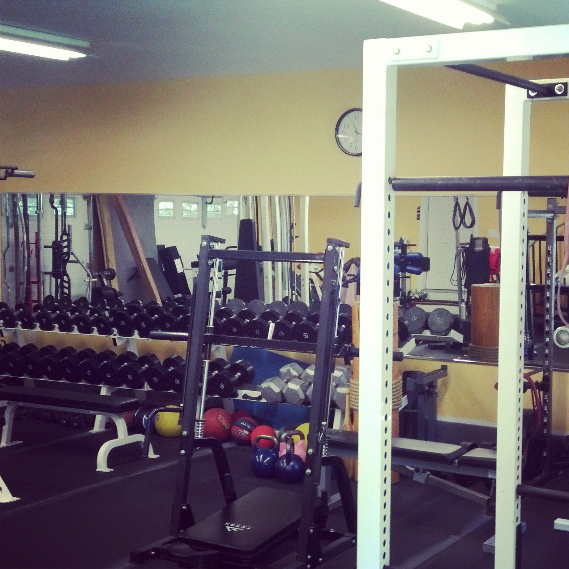 """A picture of Donna's """"garage"""" gym."""