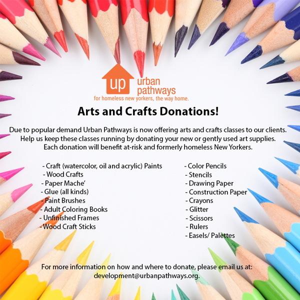 Donate to our Arts and Crafts Programs at Urban Pathways!