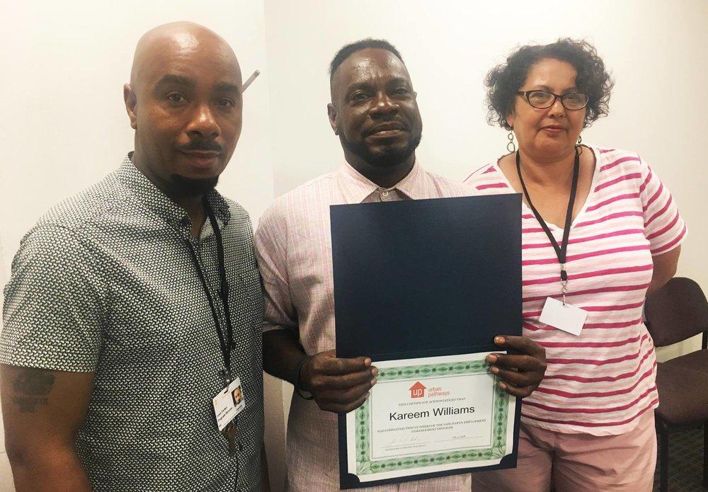 Kareem graduating from the UPwards Program in August