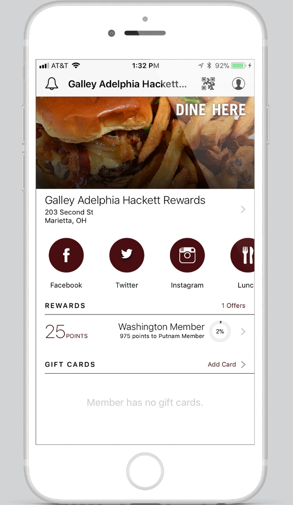 A screenshot of The Galley's brand new Galley App.