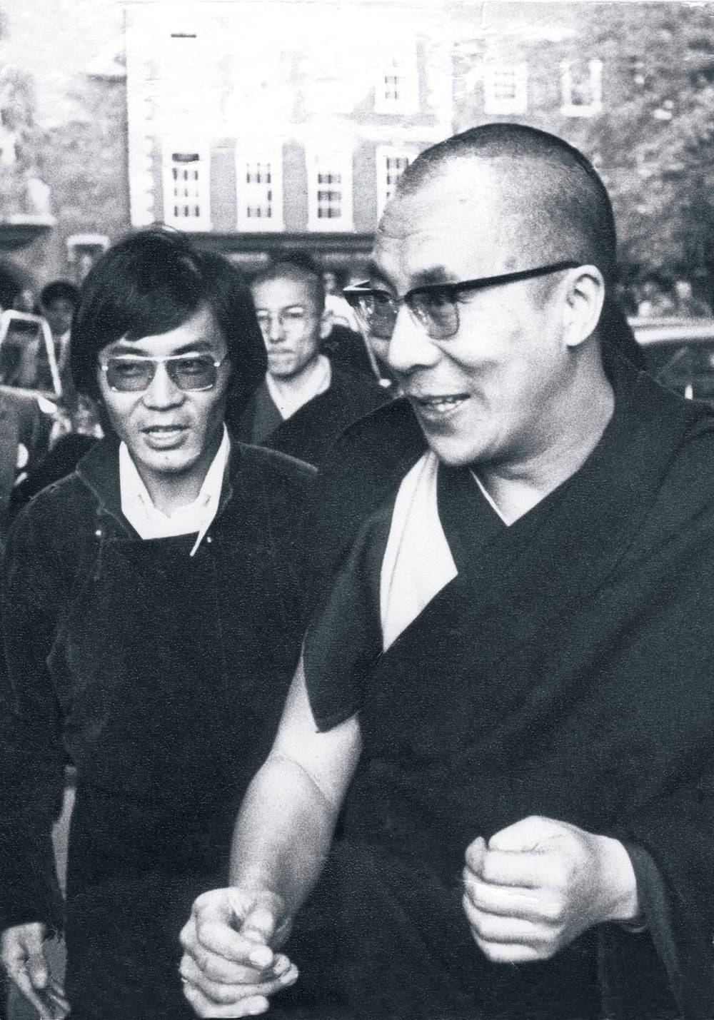 Sogyal Rinpoche (left) helped organise His Holiness the Dalai Lama's first visit to the west in 1973