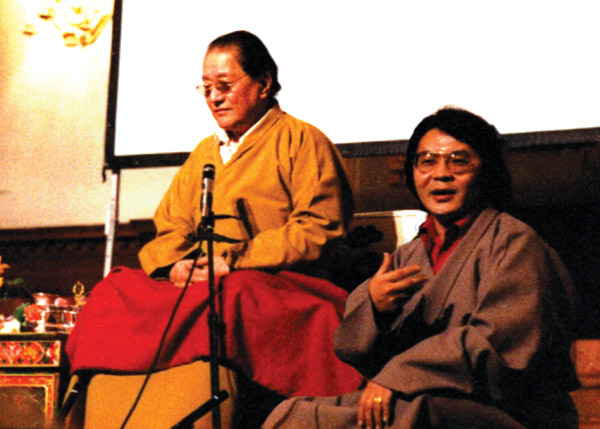 Sogyal Rinpoche translating for Dudjom Rinpoche in chelsea, london, 1979