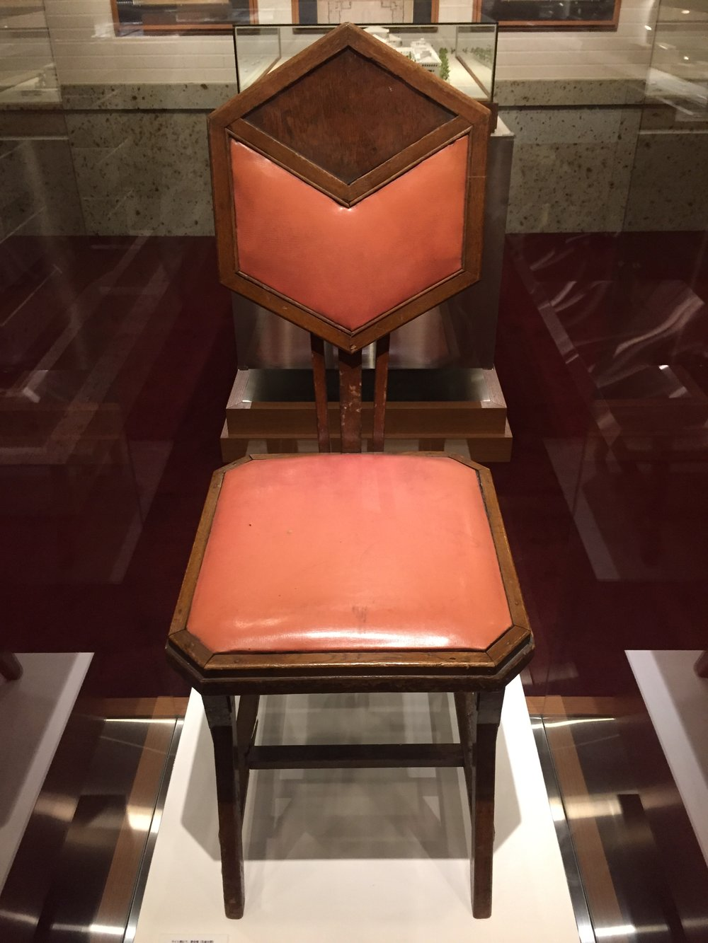 Imperial Hotel, chair designed by Frank Lloyd Wright)