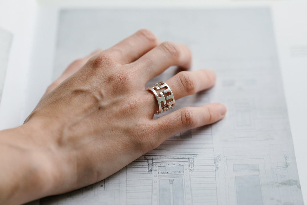 cecilia stamp - squiggle + meandros silver greek thomson rings - model.jpg