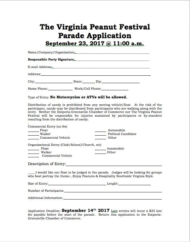 2018 Parade Application