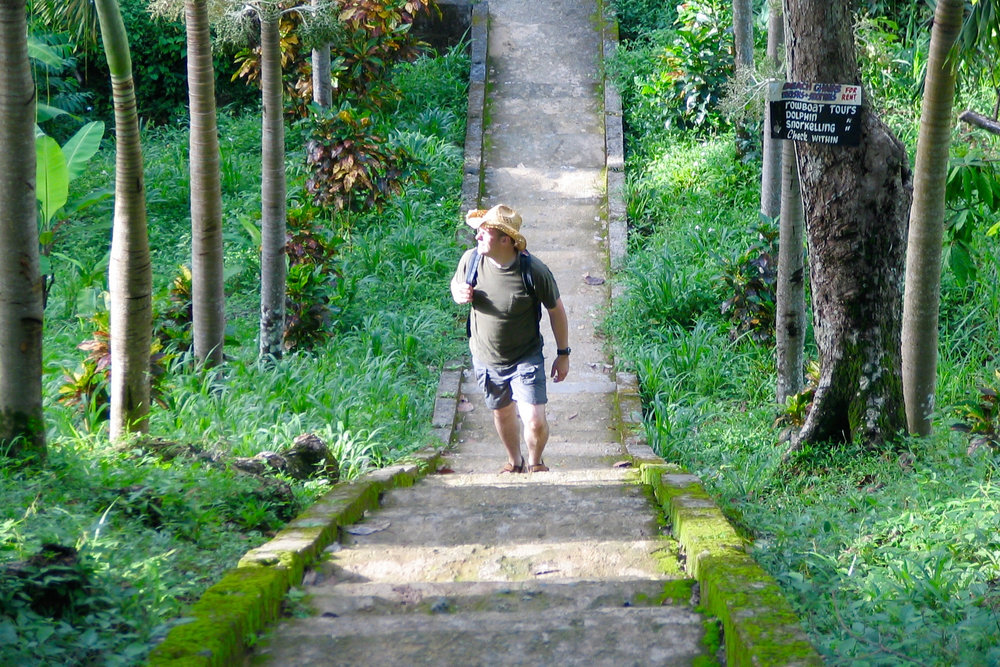 Tobago: Stairs to Pirates bay.