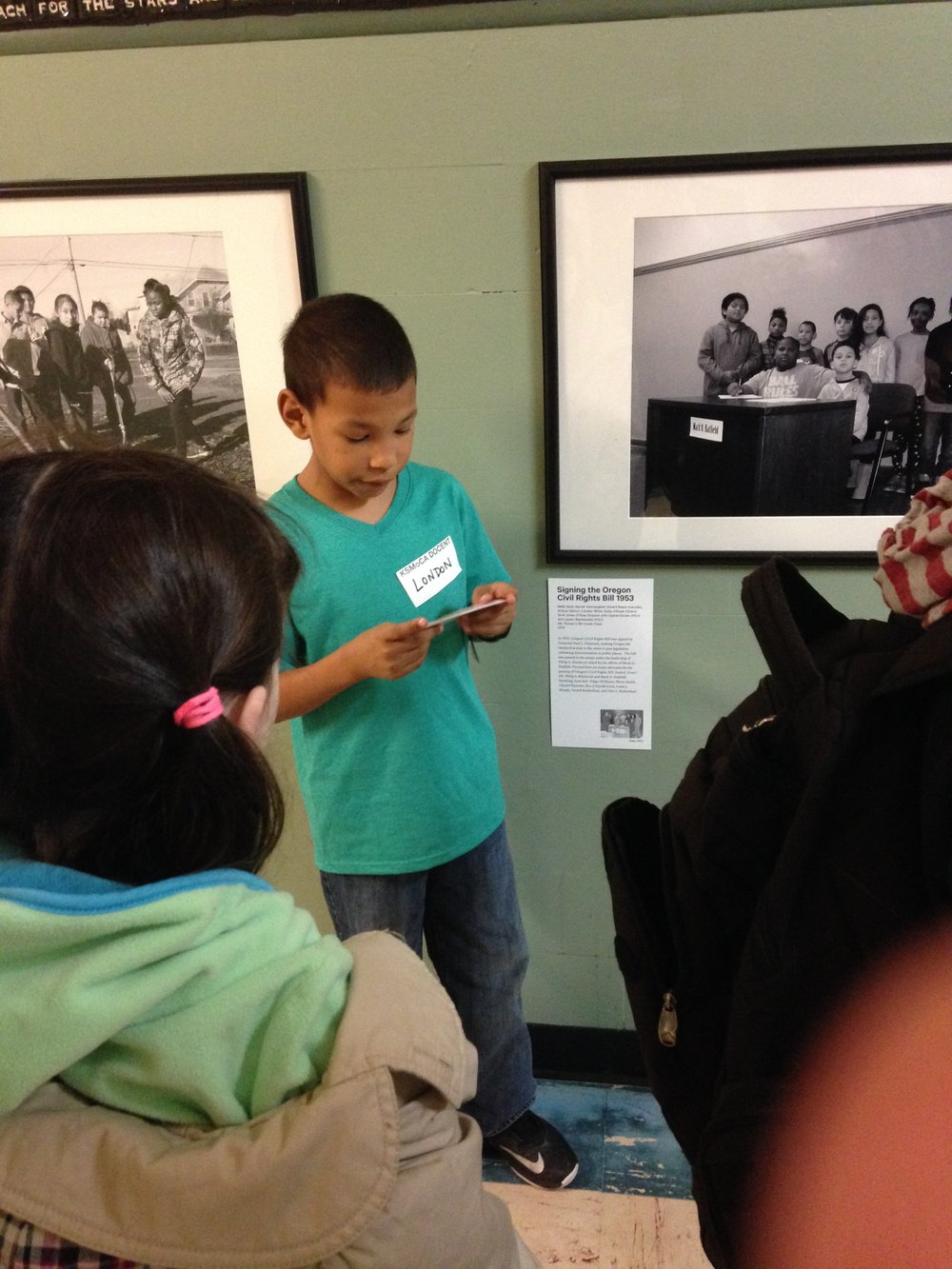 King Student docent give a tour for  Our Civil Rights History, Revisited  project