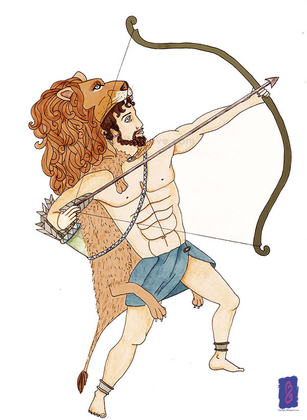Hercules in a lion skin armour