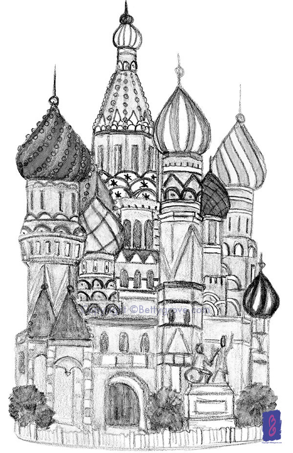 Saint Basil's Moscow - Initial sketch