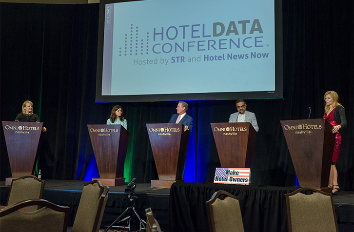 Hoteliers and distribution experts took the stage Wednesday at the Hotel Data Conference to debate today's distribution landscape. From left: moderator Stephanie Ricca, of Hotel News Now; Melissa Maher, of Expedia; Doug Browne, of Peabody Hotels & Resorts; Bharat Patel, of Sun Development & Management Corporation; and Rebecca Bucnis, of Kalibri Labs. (Photo: Kerry Woo Photography)
