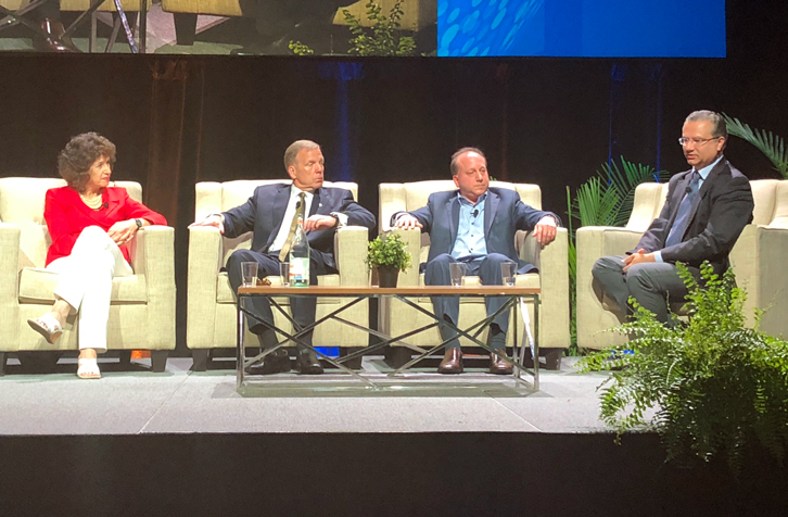 Cindy Estis Green of Kalibri Labs; Mark Carrier of B.F. Saul Company Hospitality Group; Barry Goldstein of Wyndham Hotels & Resorts; and Ash Kapur of Starwood Capital Group; speak during the Hospitality Industry Technology Exposition & Conference