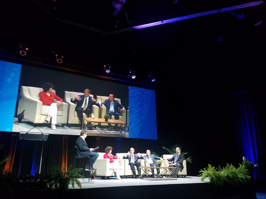 From left: Michael Levie, COO at citizenM Hotels; Cindy Estis-Green, CEO and co-founder of Kalibri Labs; Mark Carrier, president of B.F. Saul Company Hospitality Group; Barry Goldstein, chief commercial officer at Wyndham Hotels & Resorts; and Ash Kapur, SVP of hotel asset management and chief revenue officer at Starwood Capital Group.