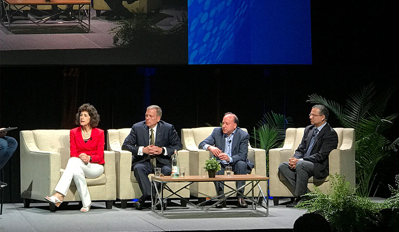 Left to right: Cindy Estis Green of Kalibri Labs; Mark Carrier of B.F. Saul Company Hospitality Group; Barry Goldstein of Wyndham Hotels & Resorts; and Ash Kapur of Starwood Capital Group