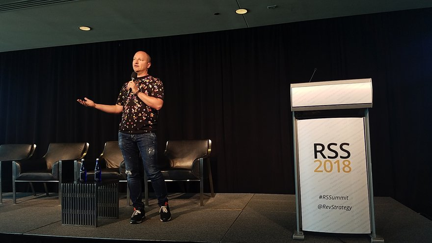 Patrick Bosworth, co-founder and CEO of revenue management software developer Duetto, addresses the Revenue Strategy Summit in Washington, D.C.