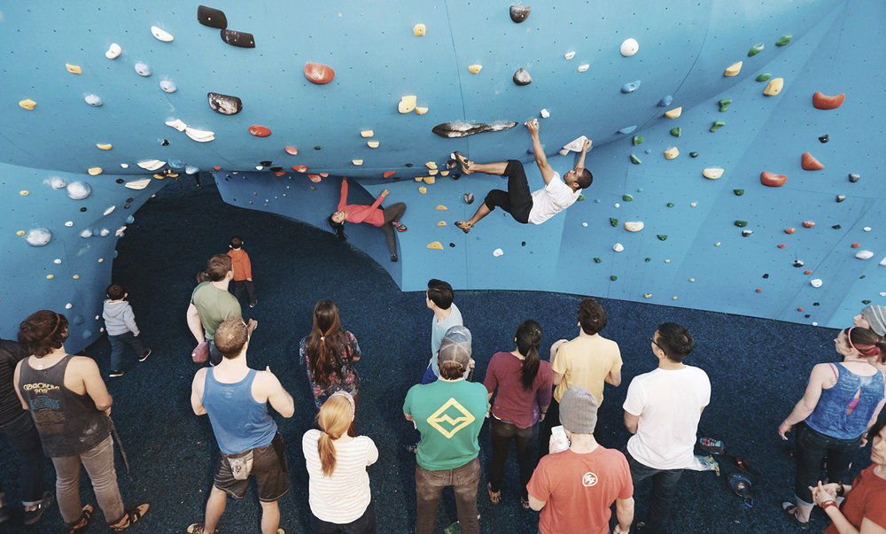 Community - Climb with a warm + welcoming community.