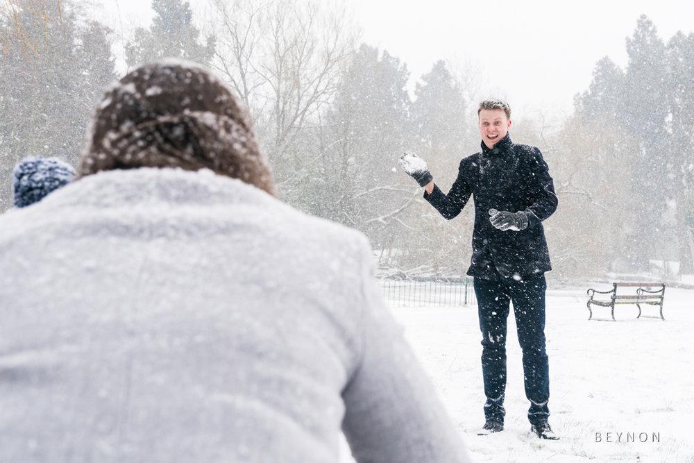 Dad ready to through a snow ball