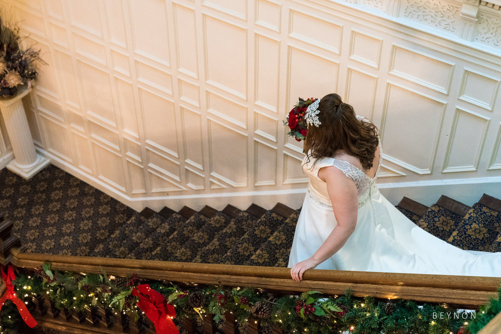 The Bride makes her way downstairs