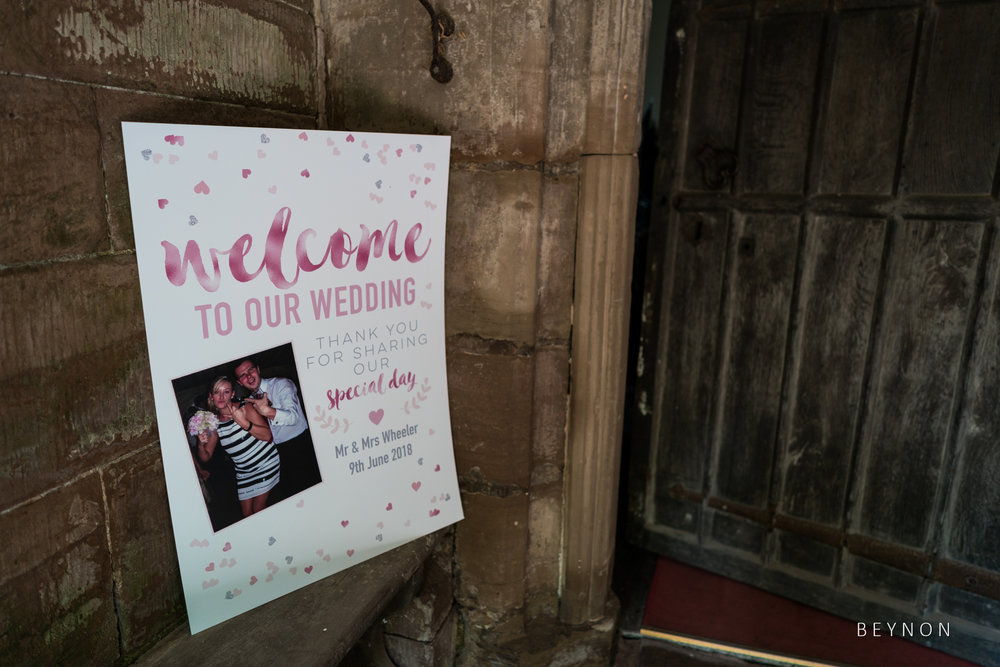Welcome sign for guests to Hayley and James' wedding day