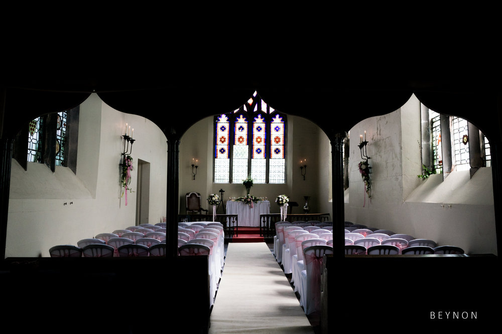 The chapel at Grafton Manor ready for the ceremony