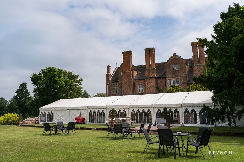 The marquee at the back of Grafton Manor ready for the evening reception