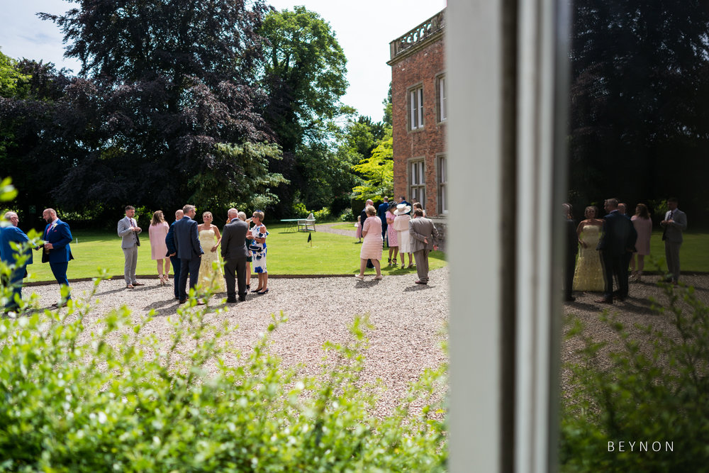 The scene in the courtyard at Grafton Manor as guests arrive