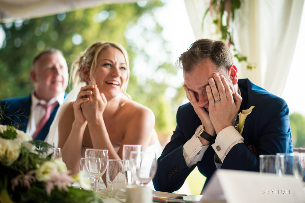Groom is embarrassed during speech