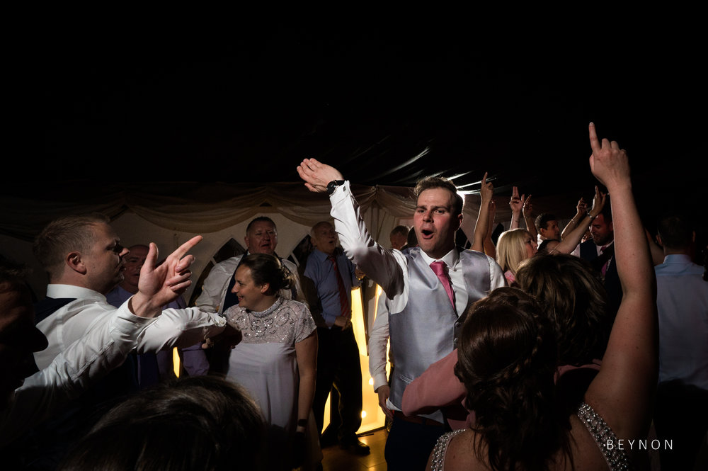 The groom busting some dancefloor moves