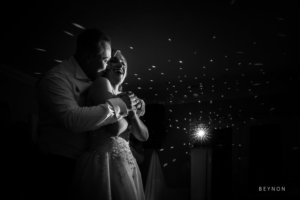 Black and white photograph of the first dance