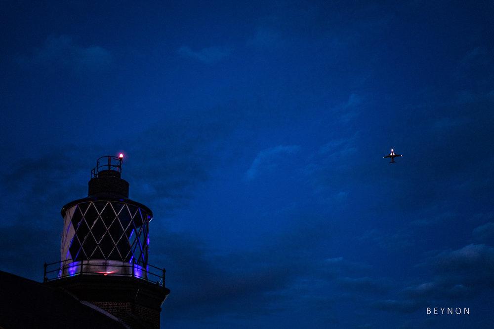 An aeroplane flys overhead